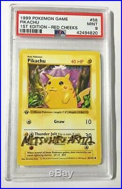 Pokemon Card PSA 9 1st Edition Red Cheek Pikachu 58/102 Mitsuhiro Arita SIGNED