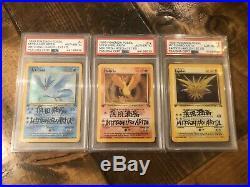 Pokemon Mitsuhiro Arita Dual Signed PSA Fossil 1st Ed. Articuno Moltres & Zapdos