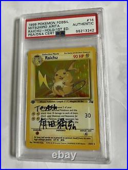 Pokemon PSA Fossil Raichu 1st Edition Holo Mitsuhiro Arita Signed Ash Ketchum