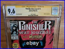 Punisher War Journal #6 CGC SS 9.6 1989 Signed Jim Lee 1st Wolverine Battle