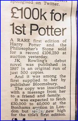 Rare J. K. Rowling Signed 1st/1st Edition Harry Potter And The Cursed Child