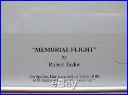 Robert Taylor 1st Edition Print Memorial Flight Signed By 3 Fighter Plane Pilots