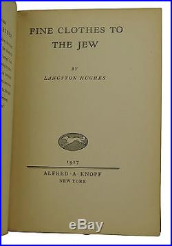 SIGNED Fine Clothes to the Jew LANGSTON HUGHES First Edition 2nd Printing 1927