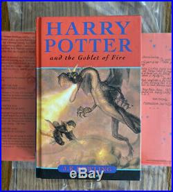 SIGNED J. K. Rowling Harry Potter and the Goblet of Fire 1st/1st Edition UK