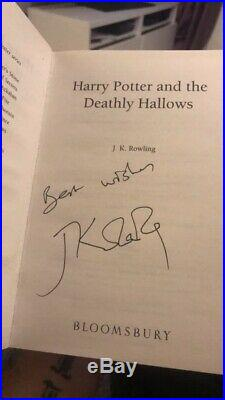 SIGNED J. K. Rowling Harry Potter & the Deathly Hallows First Edition Hardback UK+