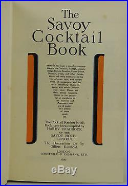SIGNED The Savoy Cocktail Book HARRY CRADDOCK First UK Edition 1st Issue 1930