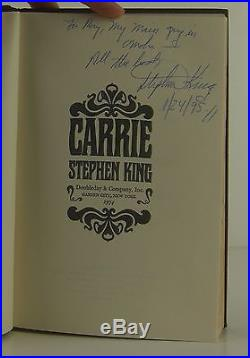 STEPHEN KING Carrie INSCRIBED FIRST EDITION