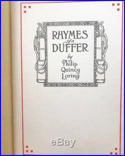 Signed Golf First Edition Book Rhymes Of A Duffer Philip Quincy Loring