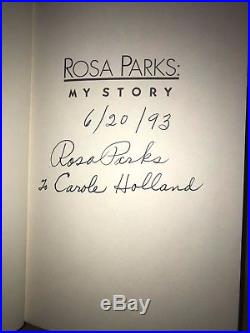 Signed Rosa Parks AutobiographyMy Story, First edition inscribed 6/20/93
