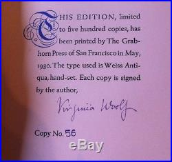 Signed VIRGINIA WOOLF Limited Edition STREET HAUNTING First Edition NUMBERED #56