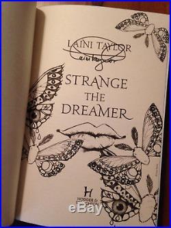 Strange The Dreamer U. K. Hardback (blue edges, signed first edition)
