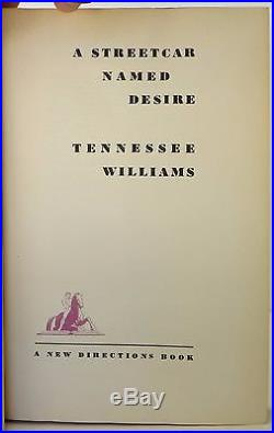 TENNESSEE WILLIAMS A Streetcar Named Desire SIGNED FIRST EDITION