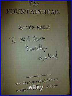 THE FOUNTAINHEAD by Ayn Rand TRUE FIRST EDITION hardcover SIGNED