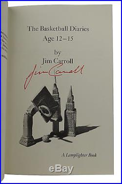 The Basketball Diaries by JIM CARROLL SIGNED First Edition 1978 Film 1st