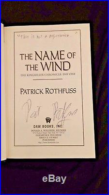 The Name of the Wind Patrick Rothfuss SIGNED first edition first print HCDJ