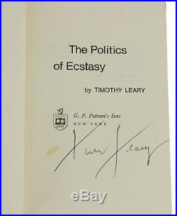 The Politics of Ecstasy by TIMOTHY LEARY SIGNED First Edition 1968 LSD Acid