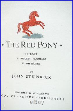 The Red Pony Signed John Steinbeck Limited First Edition 1937 Rare Book