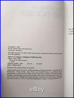 Tom Clancy The Hunt For Red October First Edition withsigned ad. REDUCED