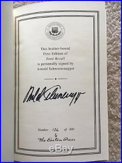 Total Recall Easton Press Arnold Schwarzenegger Signed First Edition COA