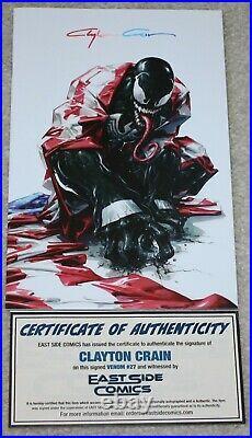 Venom 27 Clayton Crain Infinity Signed Coa Homage Virgin Variant-b First Codex