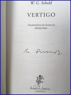 Vertigo by W. G. Sebald, Signed First Edition