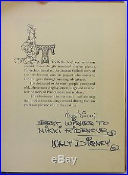 WALT DISNEY Walt Disney's Version of Pinocchio FIRST EDITION INSCRIBED BY DISNEY