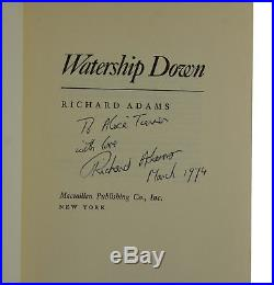 Watership Down SIGNED by RICHARD ADAMS First US Edition 1st Printing 1972