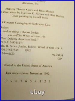 Wheel of Time The Shadow Rising Robert Jordan Signed 1st Edition 1st Pint RARE