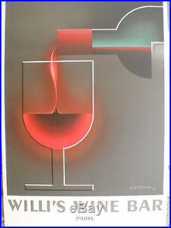 Willi's Wine Bar First Edition 1984 Lithographic Poster Original Lithograph