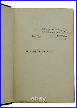 Winnie the Pooh SIGNED by A. A. MILNE First American Edition 1st 1926 AA