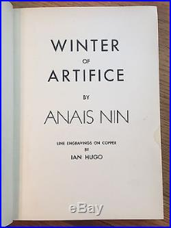 Winter of Artifice, Anais Nin. Signed and Inscribed First American Edition