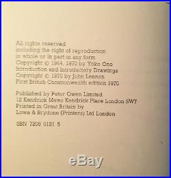 YOKO ONO Grapefruit (1970) SIGNED FIRST BRITISH EDITION Extraordinarily RARE