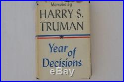 Year of Decisions SIGNED Harry S Truman FIRST EDITION 1955 Memoirs Book Vol 1